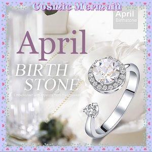 🆕💐Rotating APRIL Birthstone Ring💐SIZE ADJUSTS